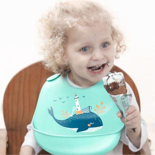 【宝盖儿】宝宝卡通软硅胶防水围兜