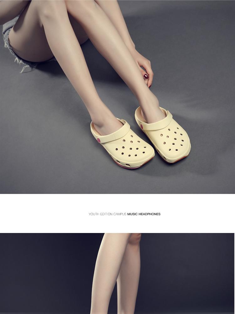 2020 mùa hè giày lỗ nữ y tá Hàn Quốc dành riêng Baotou gân đáy dép không trượt cặp vợ chồng sinh viên nhà hát mềm