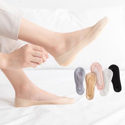 10双女袜冰丝船袜超浅口隐形硅胶防滑不掉跟薄款袜子肉色夏天丝袜
