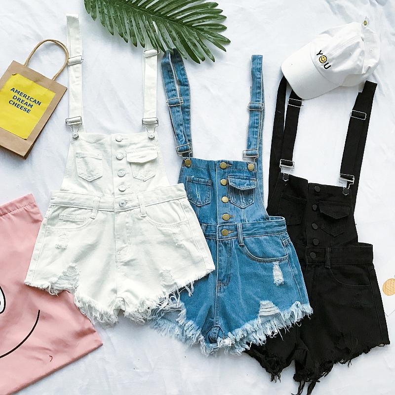 Джинсы женские 2017 новый корейский свободные джинсовые комбинезоны женские летние студентов с высокой талией отверстия в Берр короткий брюки шорты прилив