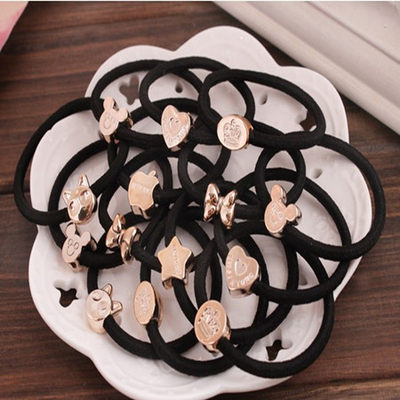Korean version of high elastic black rubber band, gold bead hair rope DIY iron buckle foundation base hair ring hair rope 50-100