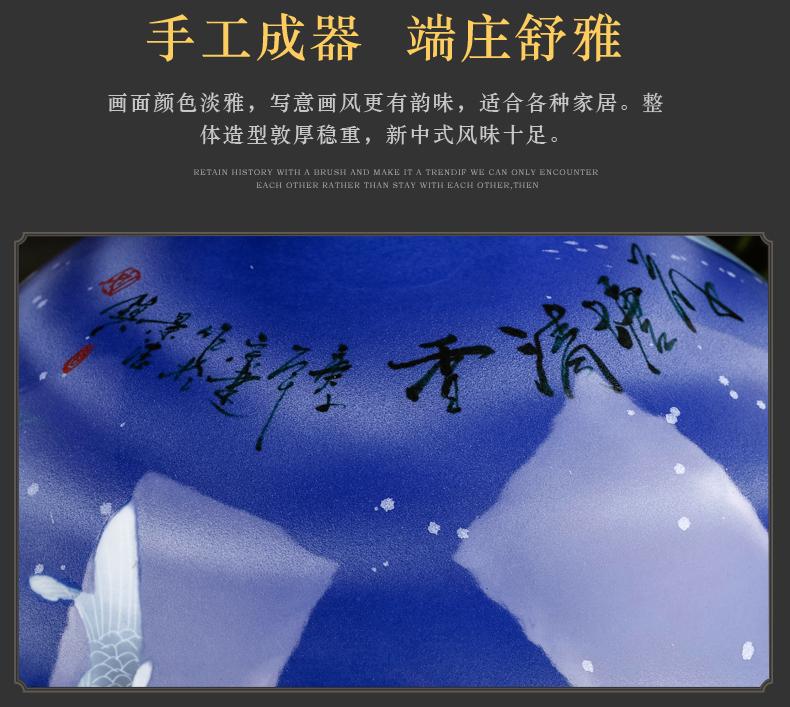 Hand made lotus large blue and white porcelain vase furnishing articles of new Chinese style living room large landing jingdezhen ceramic bottle