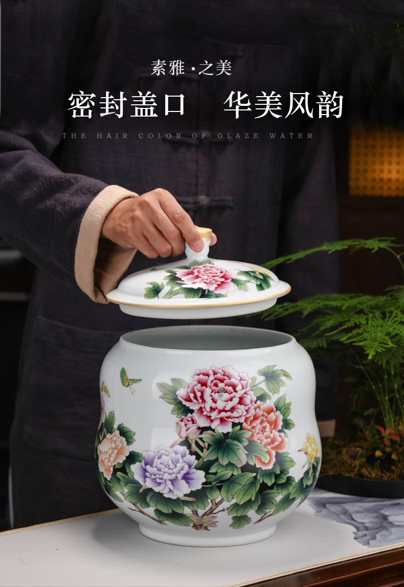 Jingdezhen storage tank desktop furnishing articles study living room decoration ware decoration household grain storage tanks