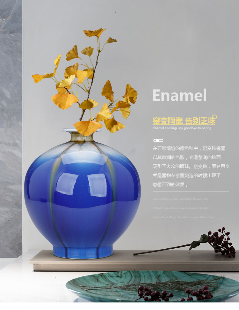 Blue variable small expressions using furnishing articles ceramic sitting room decoration vase dried flower flower implement the new Chinese rich ancient frame small place