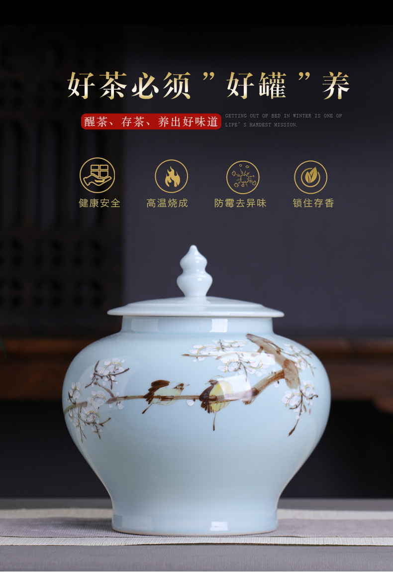 Ceramic large 2 jins with caddy fixings seal pot Chinese style household pu 'er tea storage tanks receives moistureproof