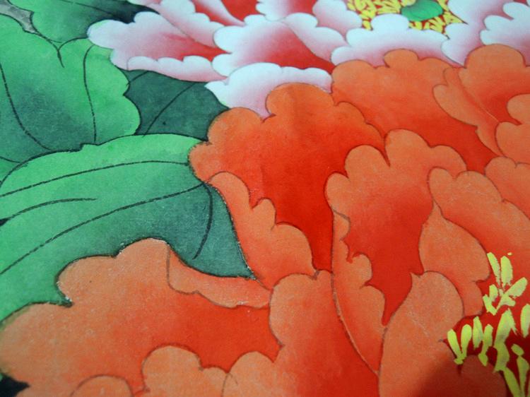 牡丹画国画牡丹工笔画 带框 纯手绘工笔牡丹画 玩乐 收藏 古董 邮币 字
