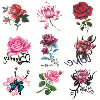 Tattoo stickers waterproof female long-lasting rose flower butterfly personality small fresh tattoo cover scar stickers