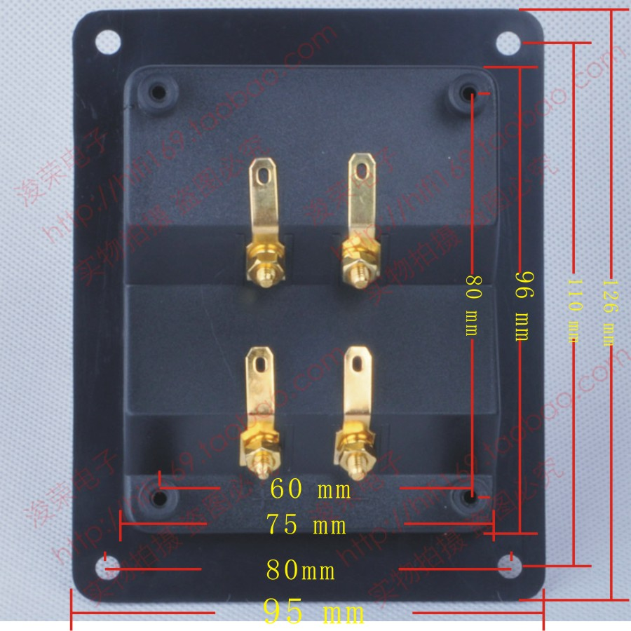 Speaker Amplifier Terminal Audio Four Junction Box Wiring Accessories Back Plate Diy Pure Copper Gold Plated Thickened