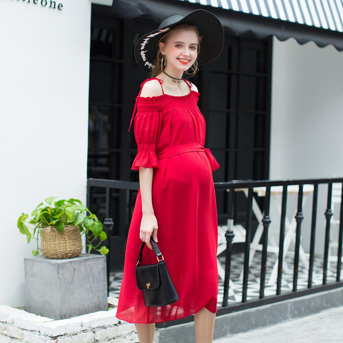 百伶妈妈孕妇装夏装2018夏季新款露肩长裙性感外出吊带裙一字肩雪纺连衣裙