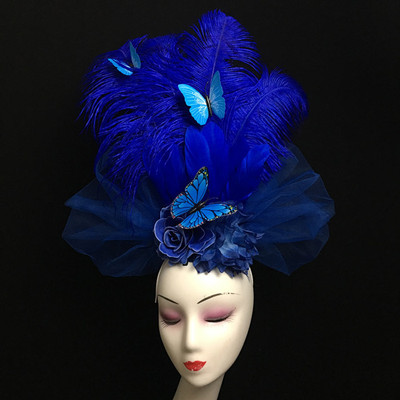 Chinese Style Blue Butterfly Feather Headdress Headdress Stage Model Show Performance Photography Bride Creative Modeling Female