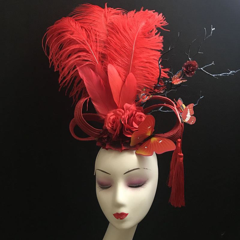 Handmade Exaggerated Feather Headdress T Stage Performing Makeup Creative Modeling Headdress Halloween Girl