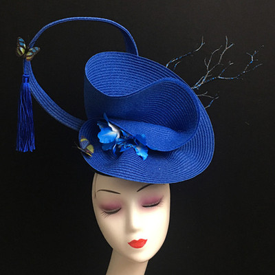 New Classic Blue Tassels and Ancient Style Performance Headdress Female Adult Stage Individuality Creative Exaggeration Modeling