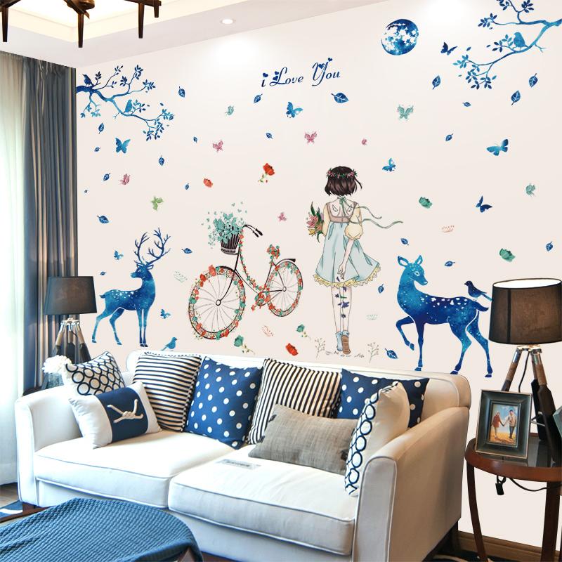 墙贴自粘背景墙纸清新网红卧室贴画装饰品女孩创意小温馨房间贴纸