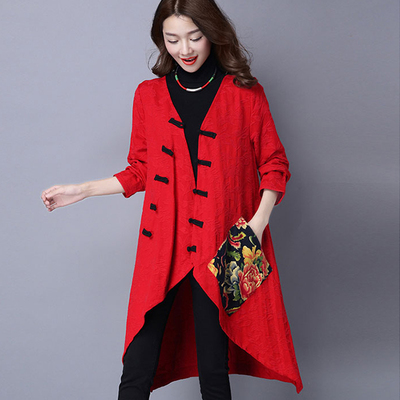 2017 autumn national wind cotton long section women's long-sleeved large size loose was thin jacquard trench coat jacket female