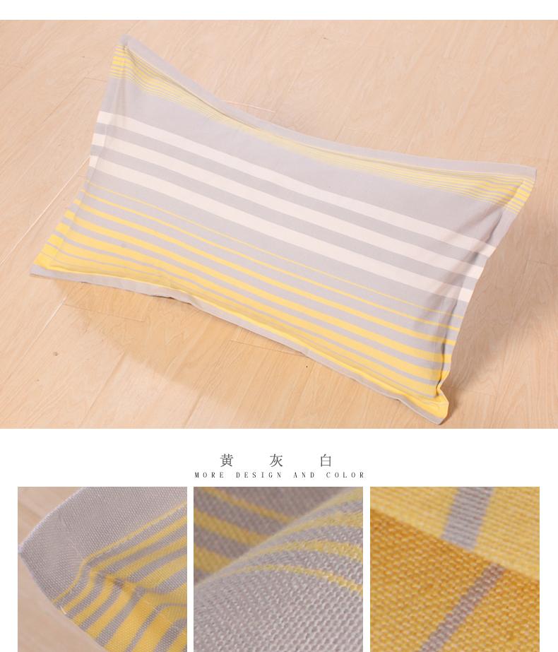 老粗布枕套纯棉加厚单人枕头套全棉条纹家纺一对包邮枕芯套48x74