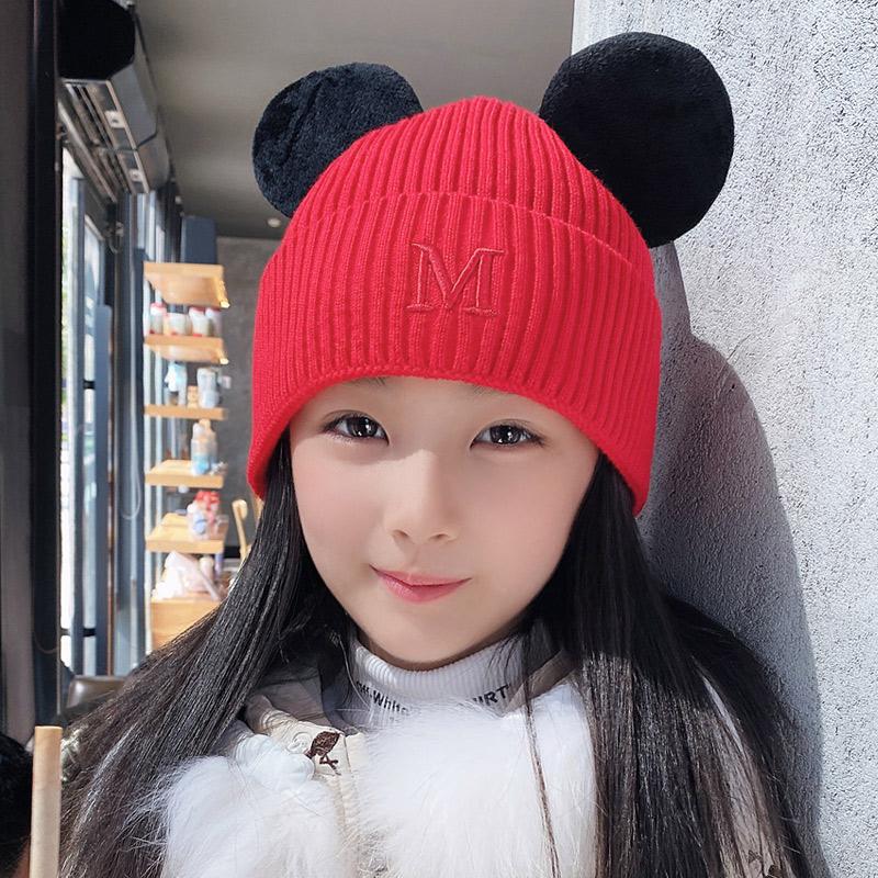 Осенью и зимой корейская новая версия модели ребенка шерстяную шапку мужской и женщины ребенок милый росток вязаная шапка сын теплый письмо рукав голову шапку