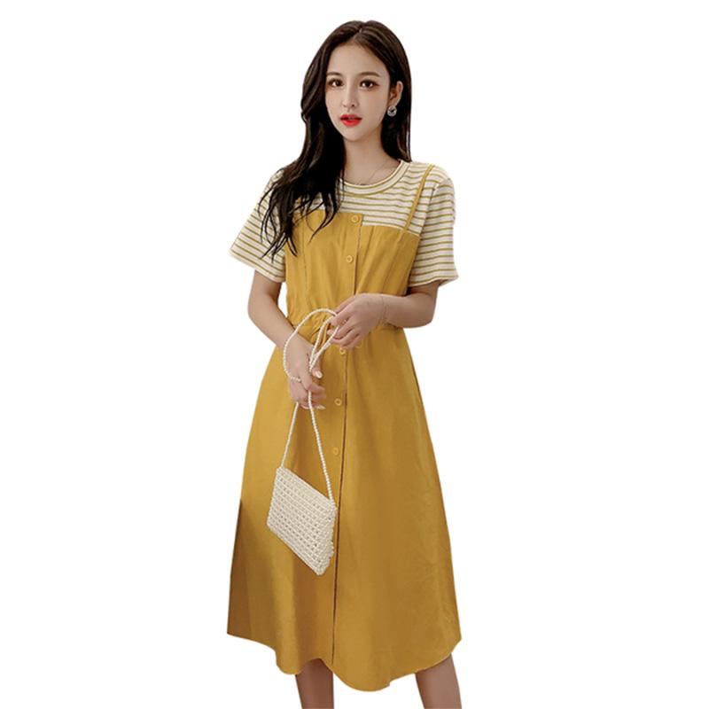 连衣裙2020新款夏假两件黄色智熏裙法式收腰仙女长裙流行女士裙子
