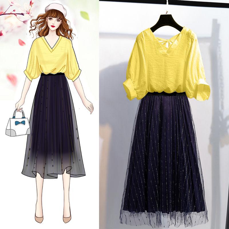 【件套】V领短袖裙子衫套装半身+网纱裙衬衫雪纺连衣裙两衬衣装女