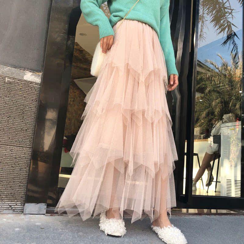 蛋糕裙半身裙中长款纱裙女春夏韩版学生不规则仙女矮个子网纱裙子
