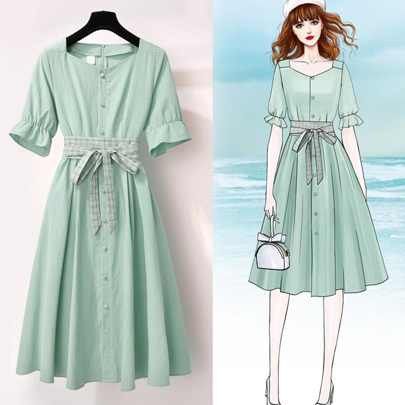 很仙的复古方领连衣裙女2019新款夏小清新气质棉麻法国小众桔梗裙