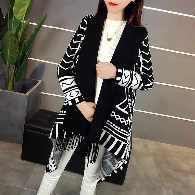 Áo choàng len choàng len nữ phiên bản Hàn Quốc của áo len dài giữa 2019 mới dệt kim áo khoác len kiểu dáng mùa thu nữ - Cardigan