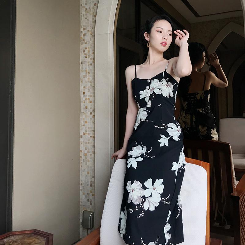 白蕊秋-vintage法式桔梗印花绑带高腰显瘦吊带修身中长款女连衣裙