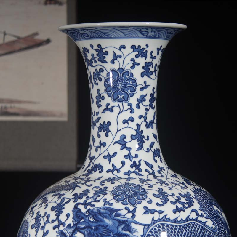 Jingdezhen blue and white dragon vase bound Chinese style classical decoration lotus flower dragon vase 50 high around the celestial sphere