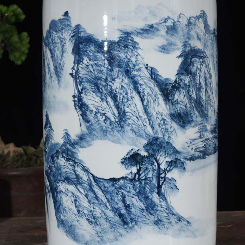 Rough jingdezhen ceramic quiver art landscape painting and calligraphy quiver of high - grade fine calligraphy and painting porcelain quiver