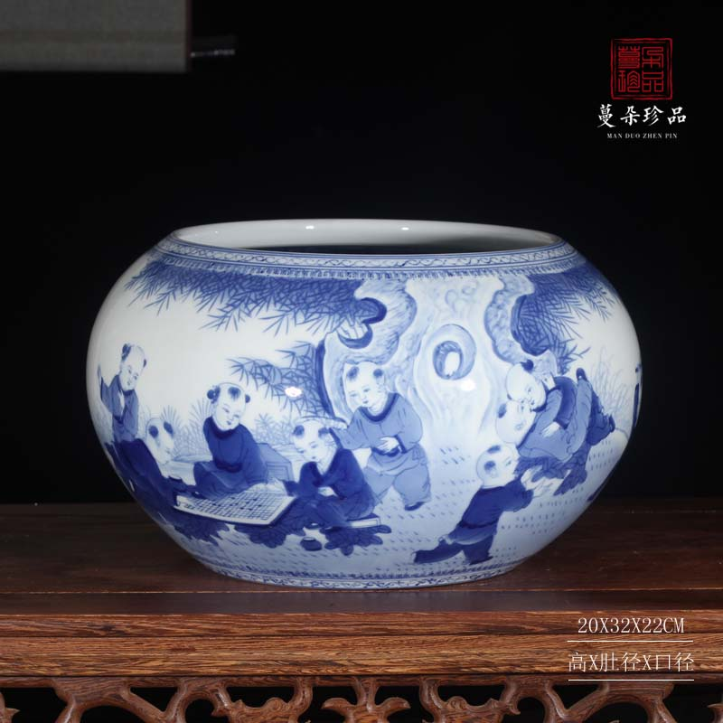 Jingdezhen blue and white vase writing brush washer from high - grade double - sided painting display cultural gift porcelain vase