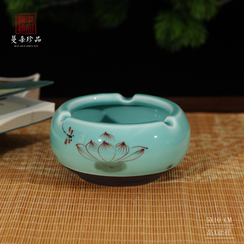 Jingdezhen elegant celadon shadow green ceramic ashtray environmental ashtray elegant and simple but elegant ceramic ashtray