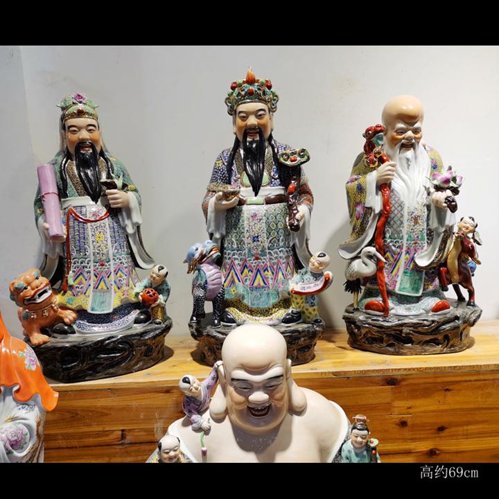 Jingdezhen high - grade hand - made porcelain samsung suit 1 meter high 97 cm, 60 cm70cm fu lu shou samsung furnishing articles
