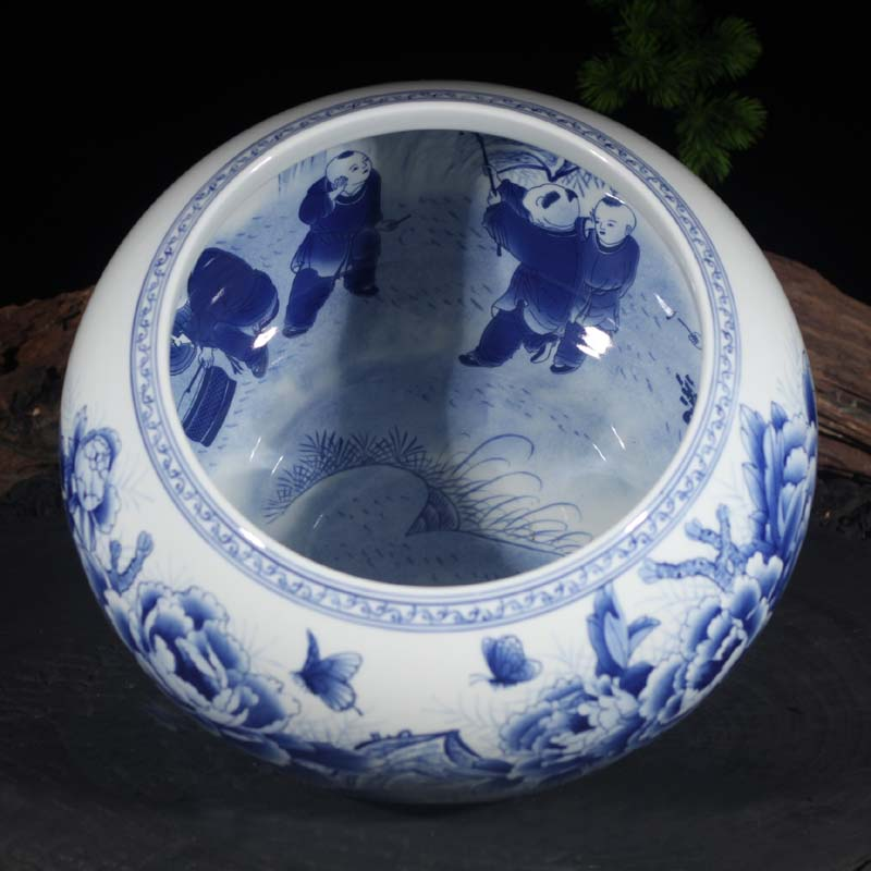 Blue and white double - sided peony peony writing brush washer from jingdezhen Blue and white porcelain porcelain basin display writing brush washer water is shallow