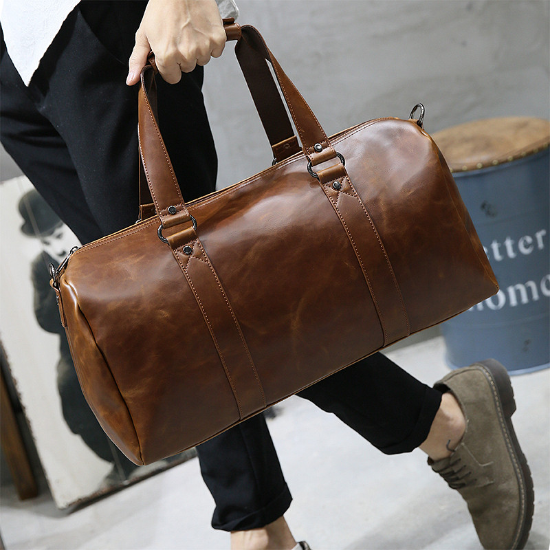 c91152181474 Men s bag men s travel bag portable messenger bag casual Korean travel shoulder  bag luggage bag Crazy Horse leather tide