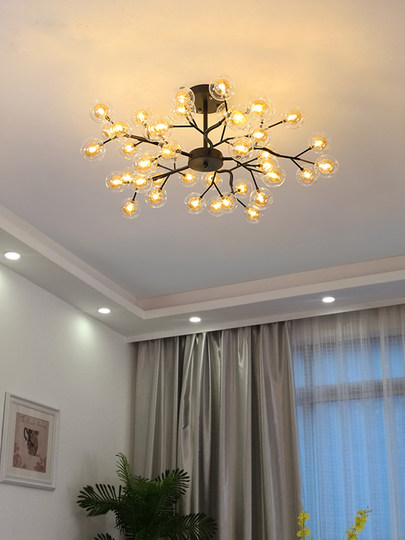 Nordic lamps atmospheric living room lamp simple modern home bedroom dining room lamp creative branch firefly chandelier