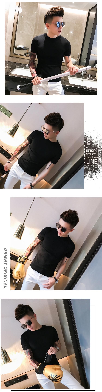 社会风夏季男生纯色圆领T恤 韩版修身冰丝针织衫糖果色T068-特P40