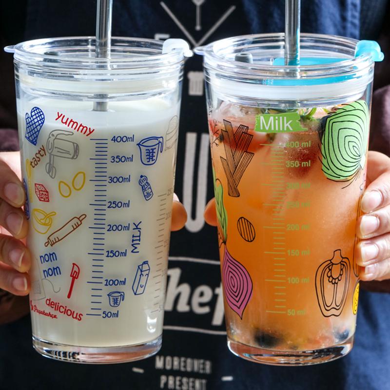 【帕莎帕琦】进口玻璃杯刻度量杯吸管杯