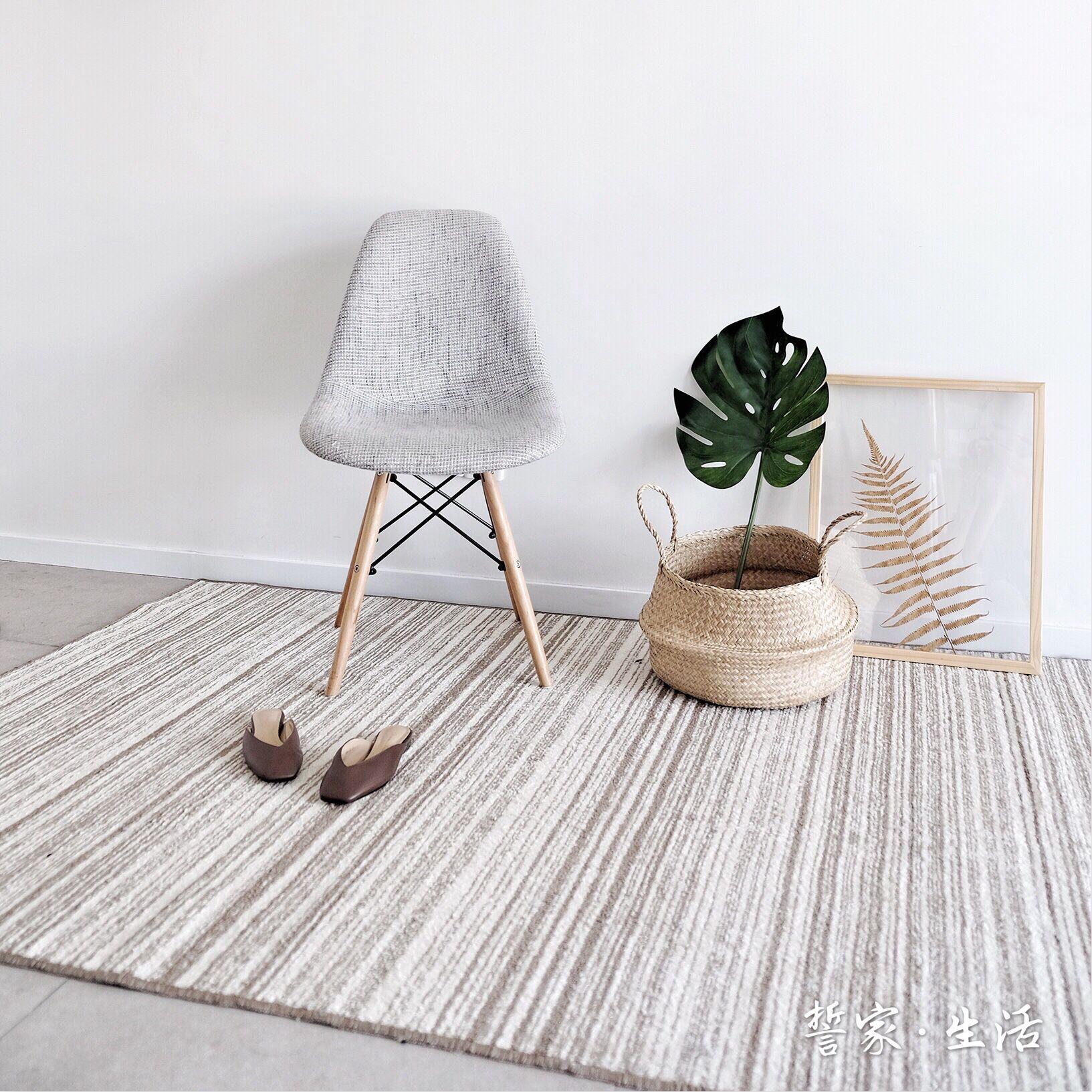 可定制日式卧室客厅入门ins简约茶几沙发条纹地毯床边北欧地垫