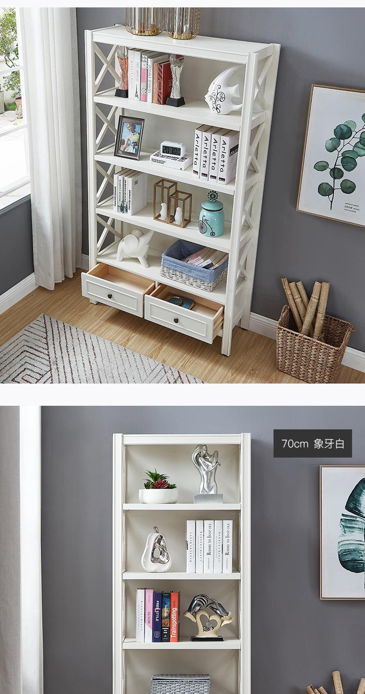 美式实木书柜欧式客厅简约落地书架儿童小书橱多层置物架储物柜子详细照片