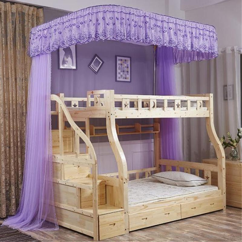 Giường trẻ em tích hợp màn chống muỗi hỗ trợ rèm từ sàn đến trần loại giường tầng trên và dưới có hoa văn cao và thấp cho trẻ em hướng dẫn thang tủ Jiao tài khoản - Lưới chống muỗi