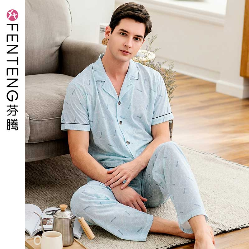 Fenton 2019 summer men's short-sleeved trousers pajamas knitted cotton printing suit youth leisure men's home service