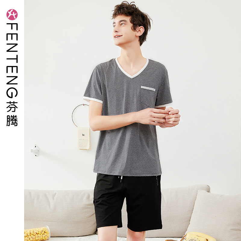 Fen Teng summer short-sleeved pajamas men's cotton V-neck shorts hedging thin casual suits summer cotton home service