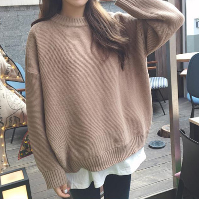 2017 autumn new Korean version of the simple basic loose loose thin round neck hemp solid color sweater sweater ladies