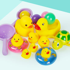 Baby baby bath toy boy girl child playing in water pinch called little yellow duck swimming little turtle