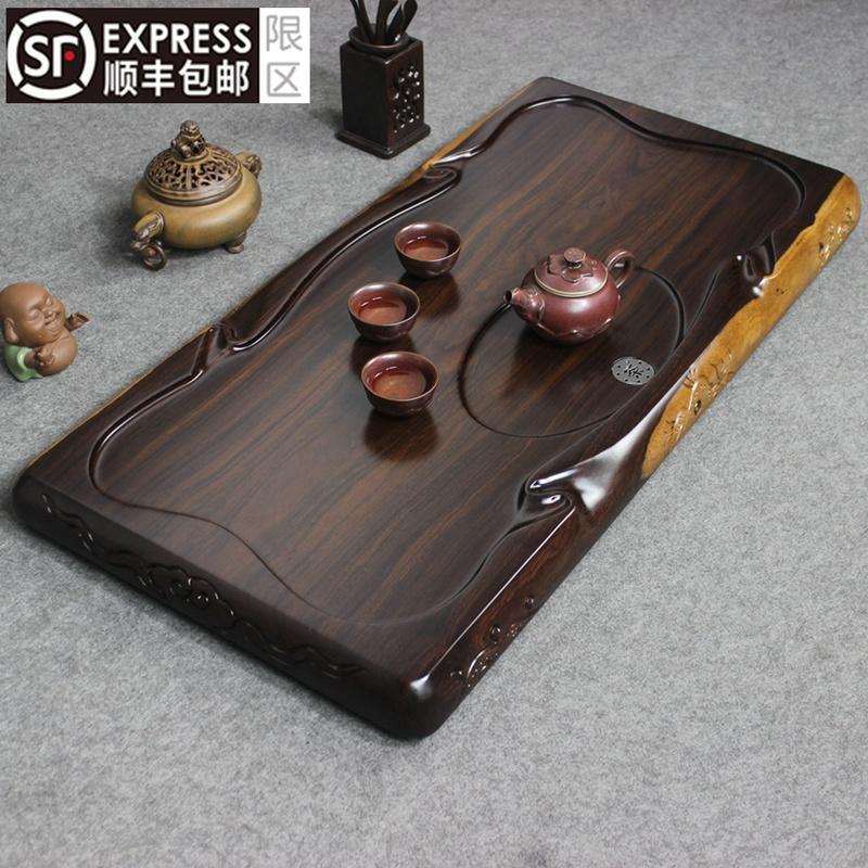 Whole ebony tea tray Solid wood tea table rectangular simple household tea sea large log drainage Kung Fu tea set