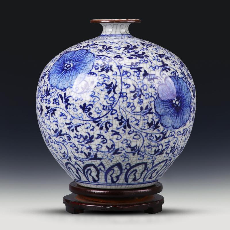 景德镇陶瓷器青花瓷客厅摆件瓷瓶v客厅复古家居装饰品仿古手绘花瓶
