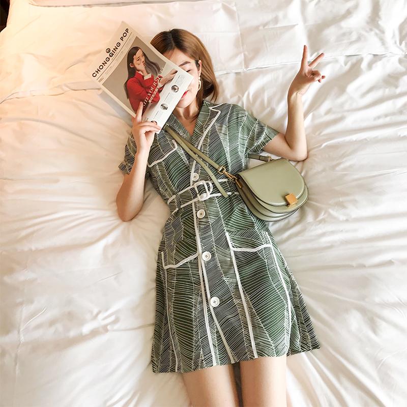 雪纺短袖连衣裙女西装领条纹收腰显瘦韩版淑女短裙2019新款夏季