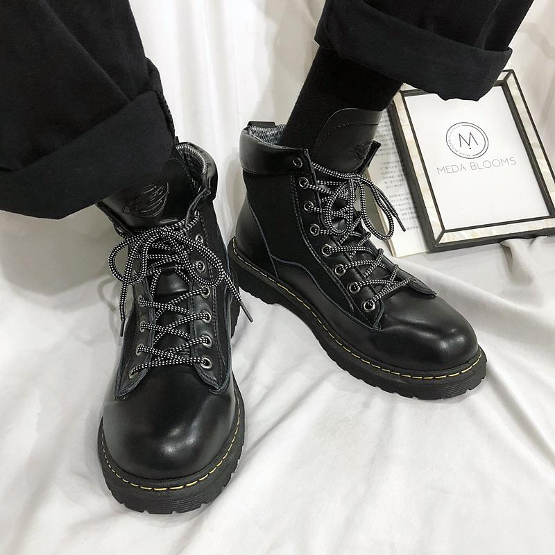 ins超火冬季款韩版皮鞋大头靴男厚底加绒潮流风马工装港高帮丁靴