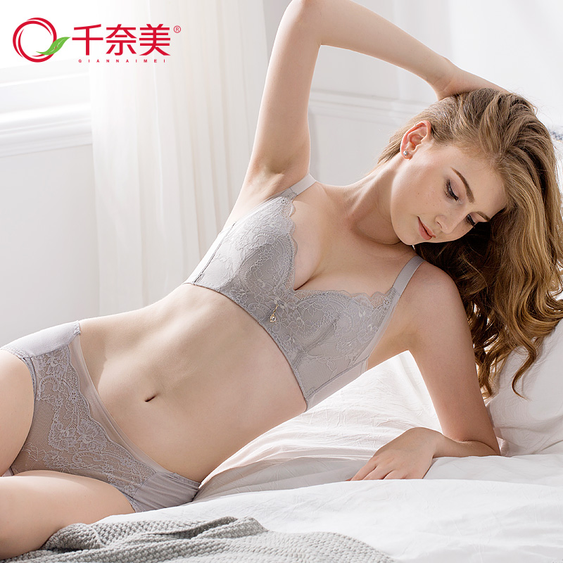 bc5873dc7283 Chennai sexy lace gathered bra set no steel ring small chest thick section  on the underwear female suit bra