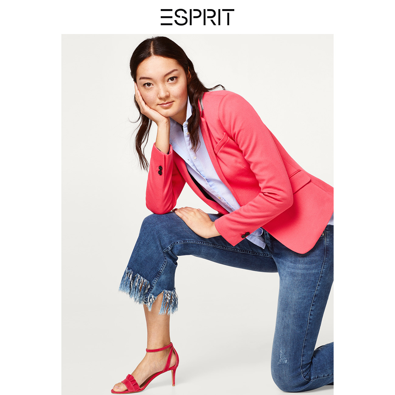 5cb8c21c426 ESPRIT women s summer solid color fashion simple buckle business casual  suit jacket female-038EO1G002