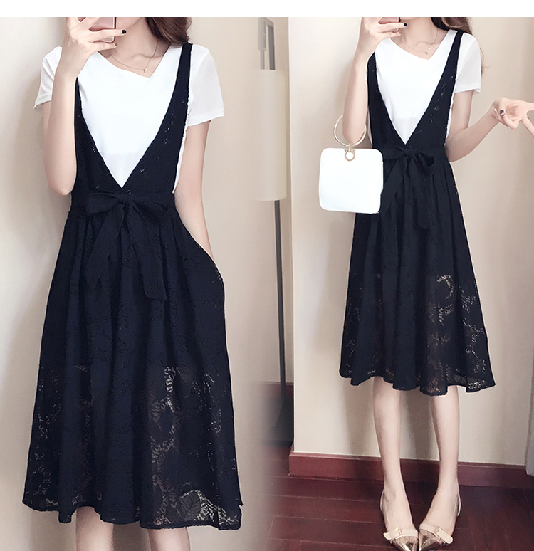 Real Shot  2019 Summer New Style Korean-Style Fat Mm plus Fertilizer to Increase Fashion Lace Two-Piece Dress